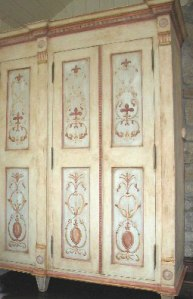 Hand-painted distressed armoire