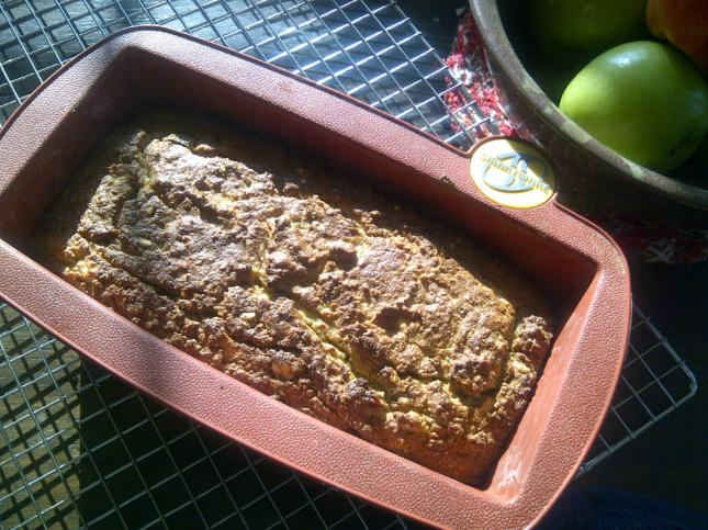 Grain-free Banana Walnut Bread, fresh from the oven, Mmmmm!